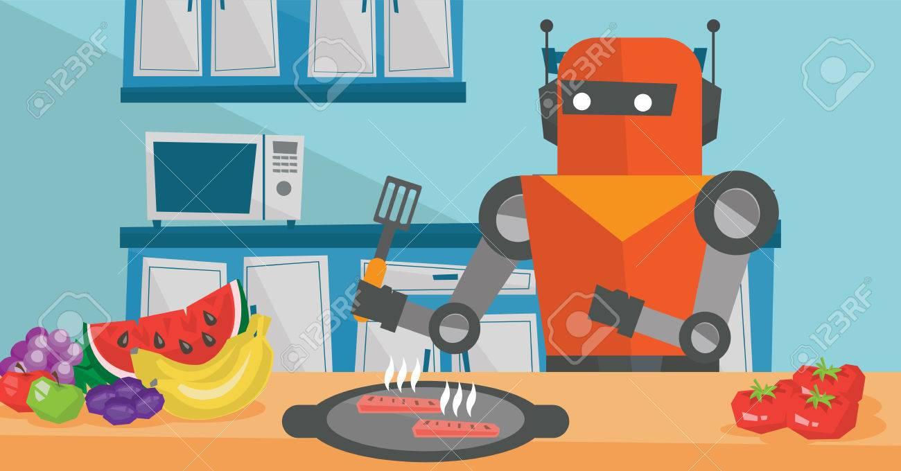 Robot Housewife Preparing Breakfast At Kitchen. Royalty Free ...