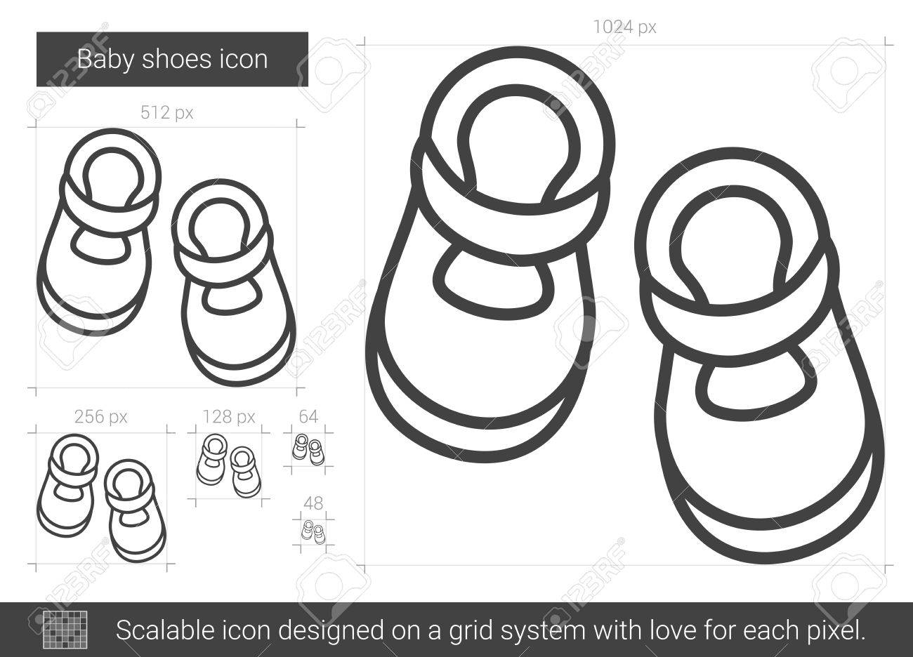 Baby Shoes Vector Line Icon Isolated On