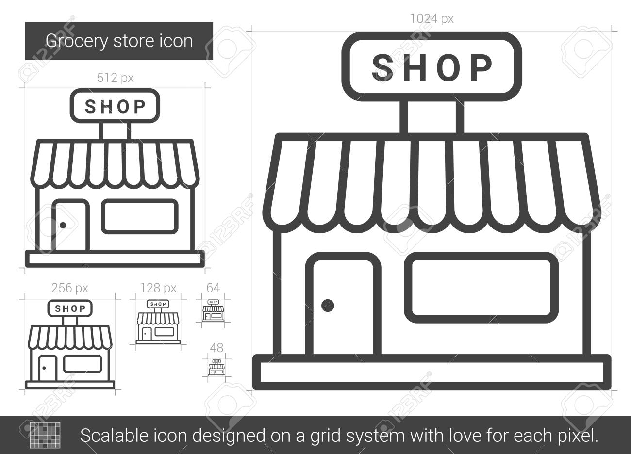 Grocery Store Vector Line Icon Isolated On White Background ...