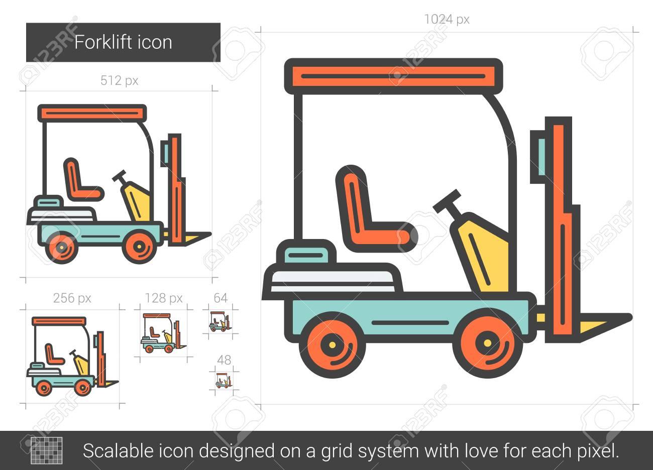 Icono De Línea De Carretilla Elevadora Ilustraciones Vectoriales