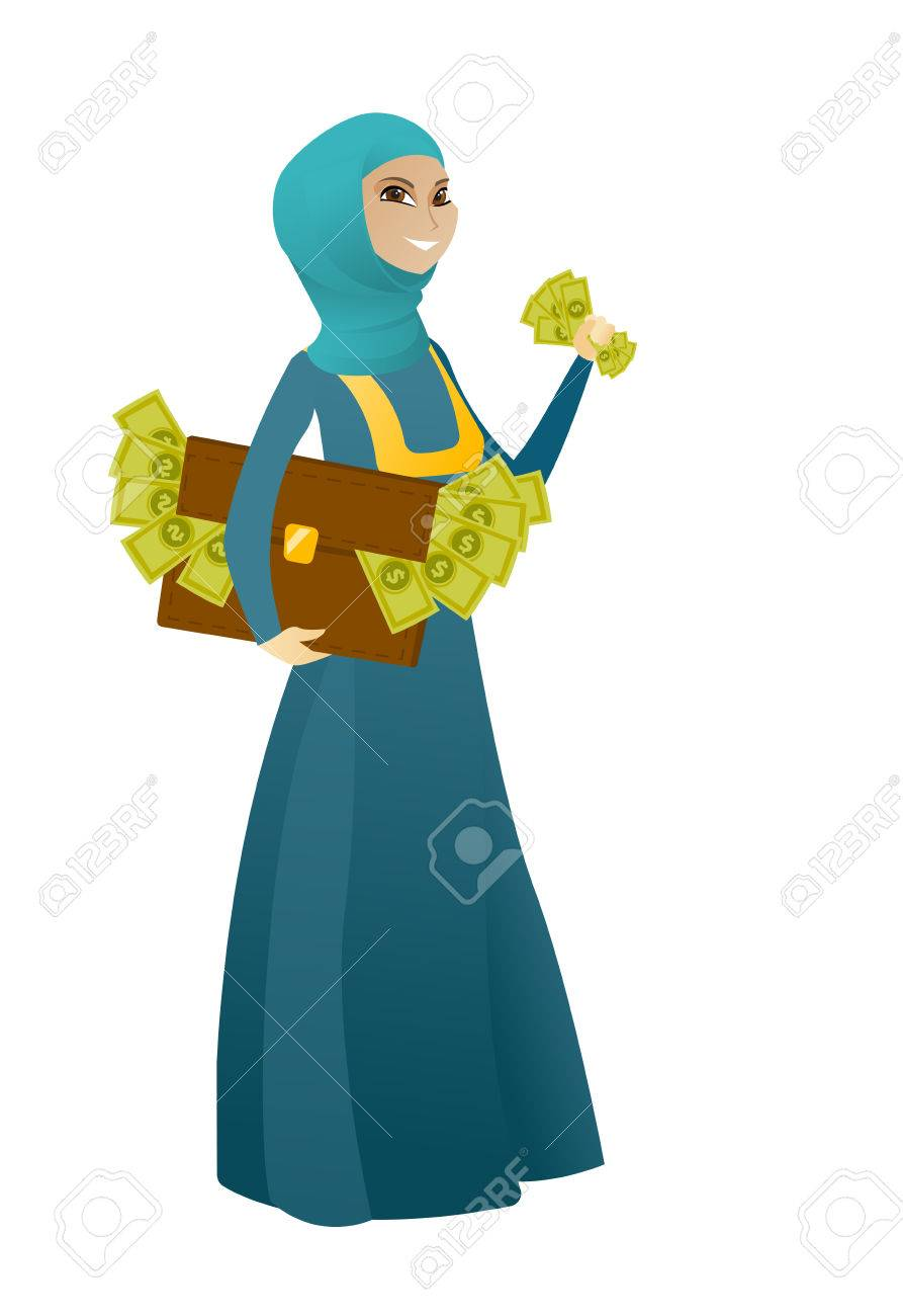 Business woman standing with briefcase full of money and committing
