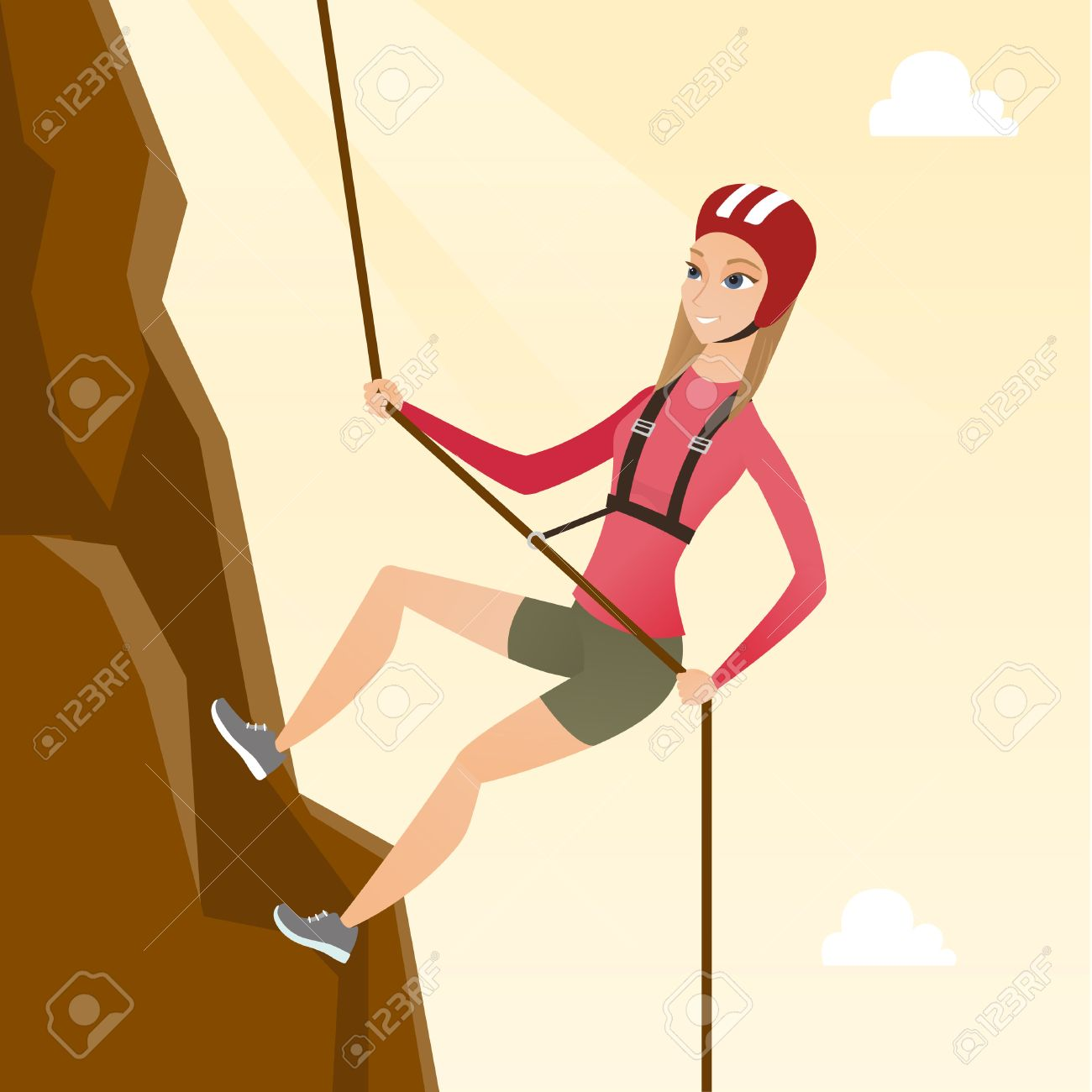 Young climber in protective helmet climbing a mountain. Caucasian smiling woman climbing a mountain with a rope. Sport and leisure activity concept. Vector flat design illustration. Square layout. - 81273417