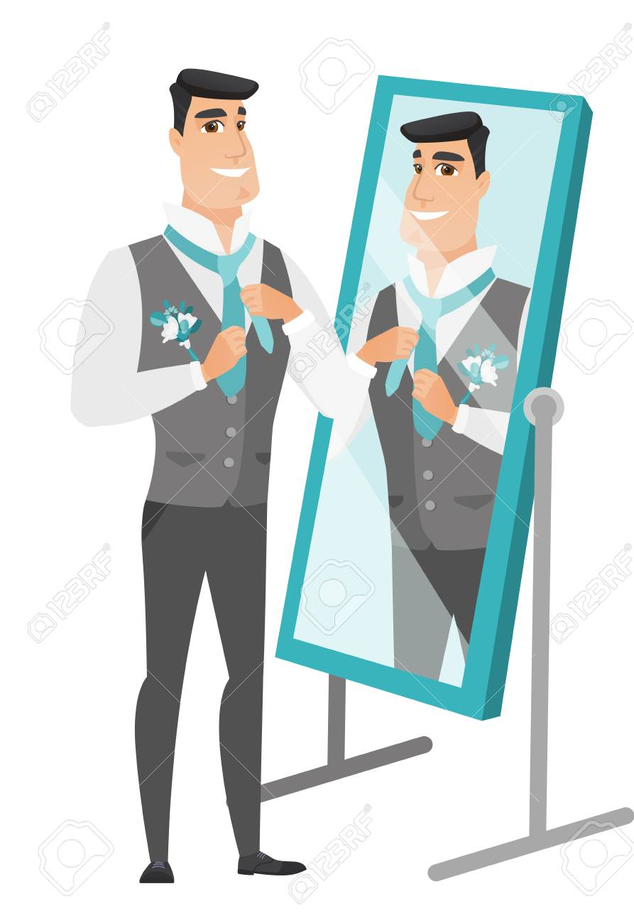 Cheerful caucasian groom has a final preparation before the wedding in front of the mirror. Groom looking in the mirror and adjusting tie. Vector flat design illustration isolated on white background. - 81366550