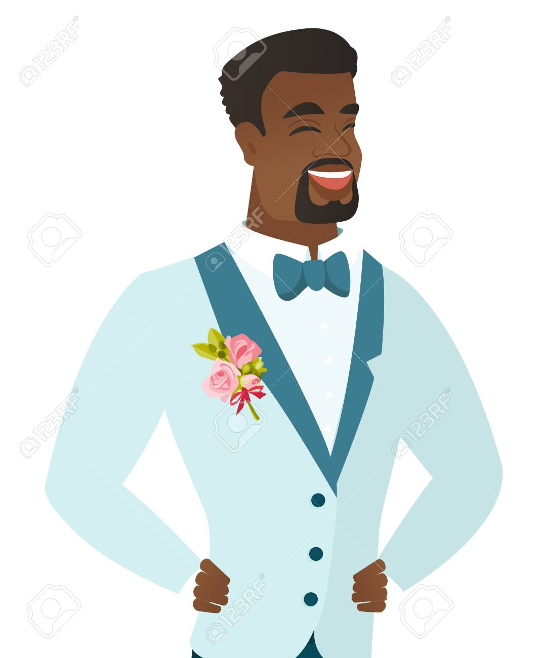 Young African-american Groom In A Wedding Suit Laughing With ...