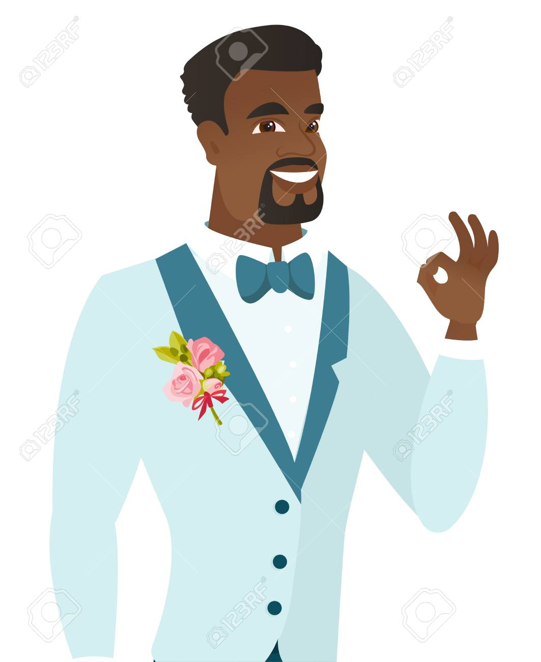 African-american Smiling Groom Showing An Ok Sign. Young Cheerful ...