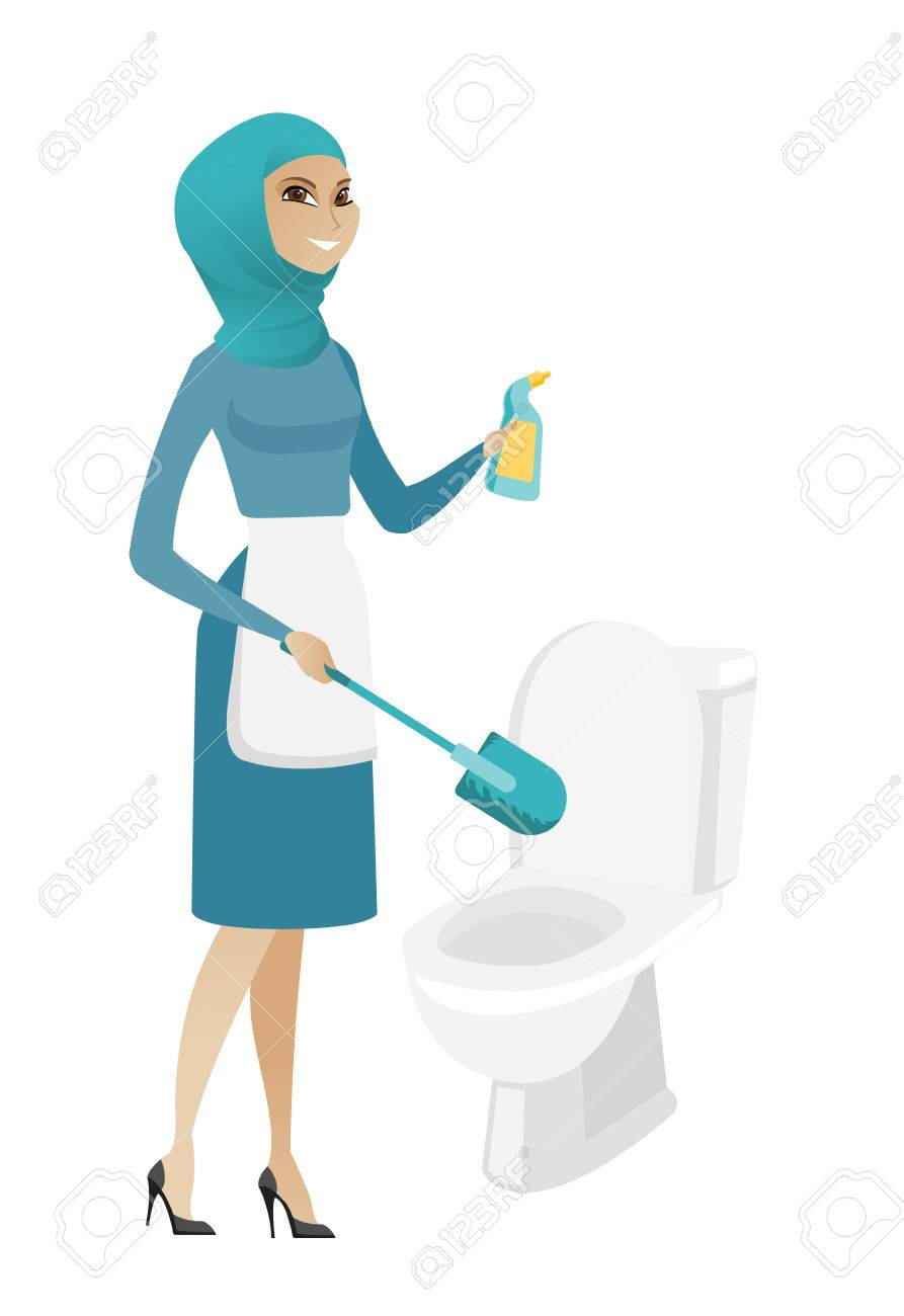 Super Muslim Cleaner In Uniform Cleaning Toilet Bowl With Brush And Theyellowbook Wood Chair Design Ideas Theyellowbookinfo