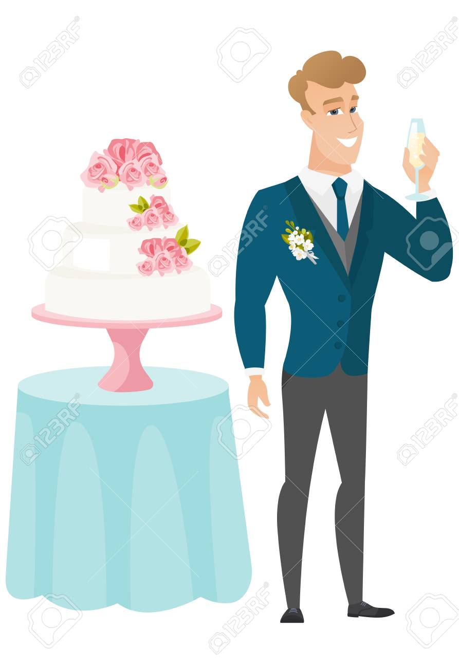 Happy Groom Standing Near Wedding Cake And Holding A Glass Of ...