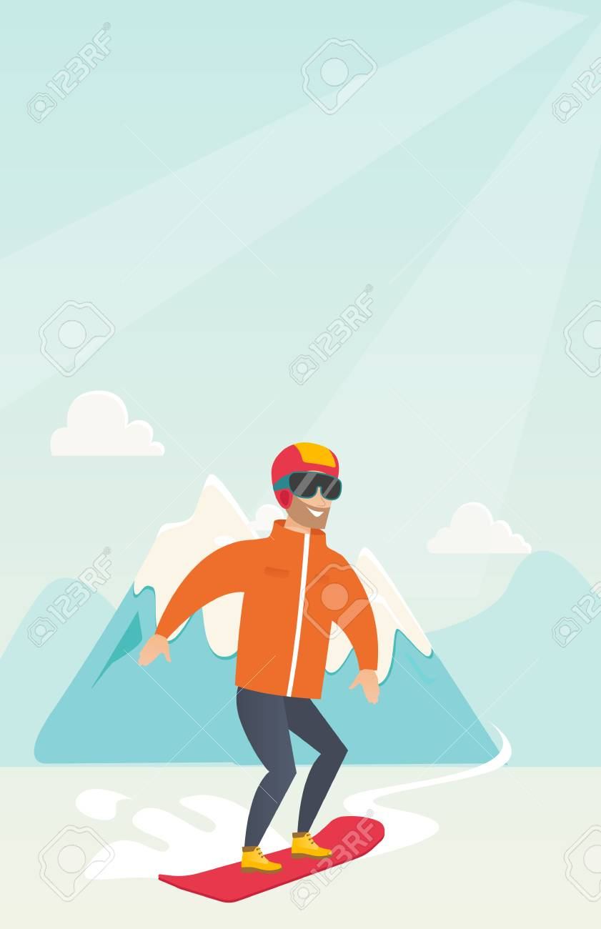 雪の背景にスノーボード若い白人のスポーツマンをかぶった山々流行に