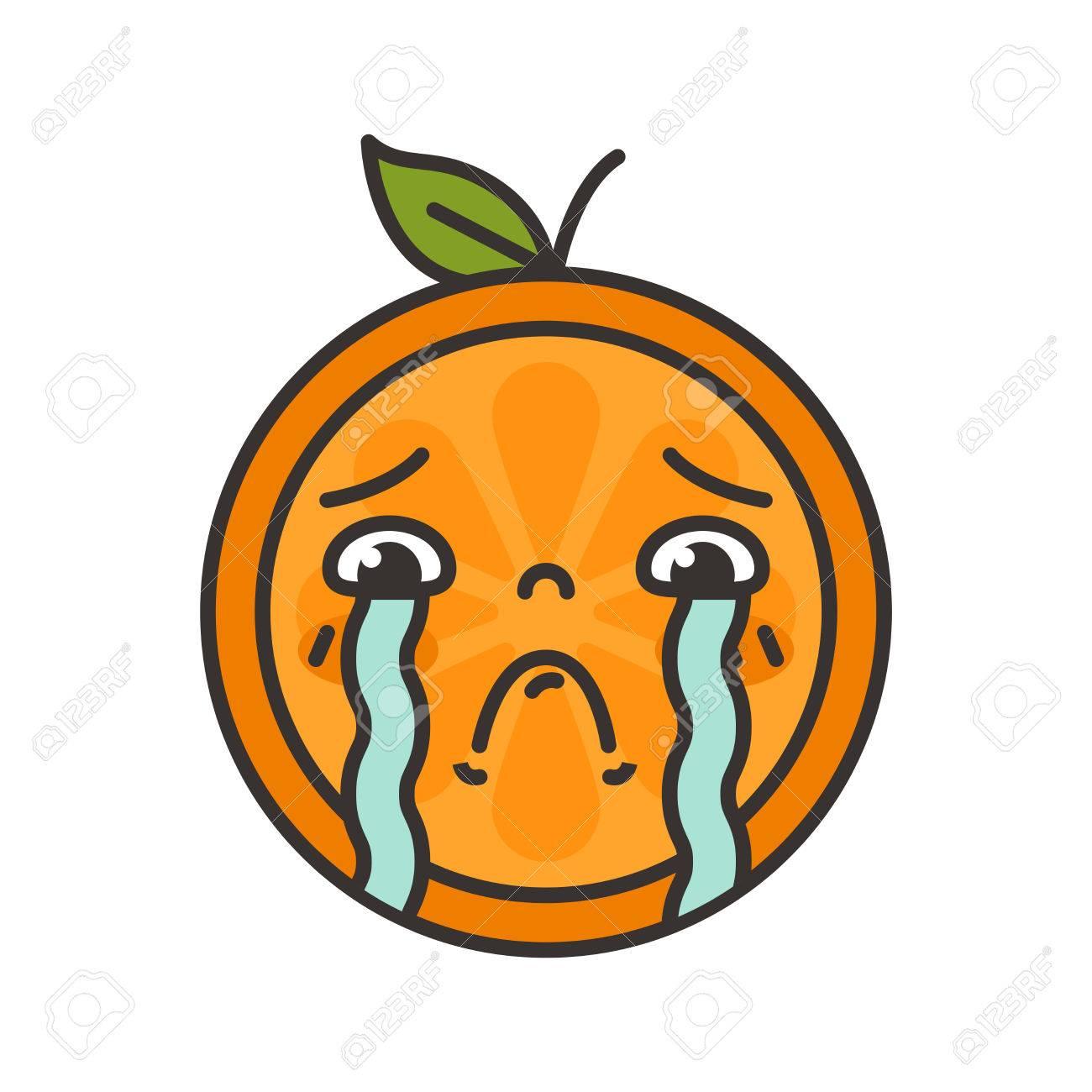 Tears Crying Emoji Orange Fruit With Vector Flat Design Emoticon Icon