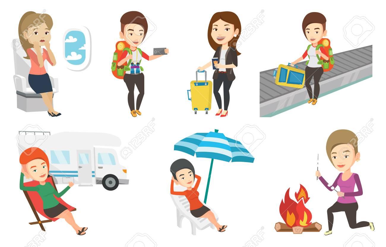 Femme Assise Dans Une Chaise Pliante Et Donnant Le Pouce Sur Fond De La Camionnette Apprciant Ses Vacances En Camping Car