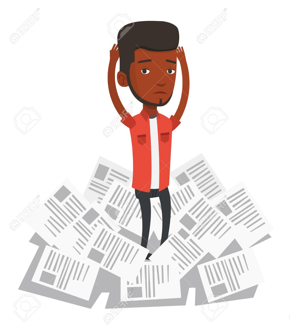 african businessman having a lot of paperwork. young businessman