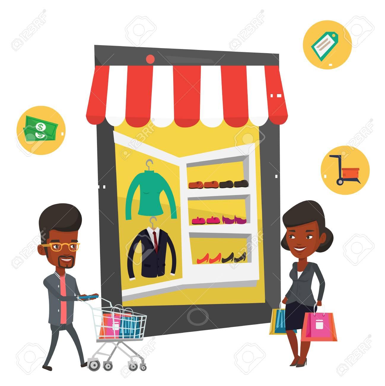 94f36015c218d Les Africains Font Des Achats En Ligne. Femme Et Homme à L aide De Shopping  Mobile. Femme Et Homme Marchant Dans Le Magasin Qui Ressemble à Une  Tablette.