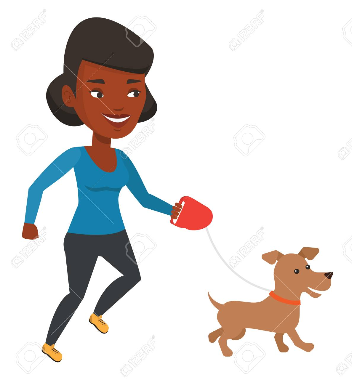 a2f8d7ef5eafd African-american woman with her pet. Happy woman taking dog on walk. Woman  walking with her small dog. Smiling girl walking a dog on leash.