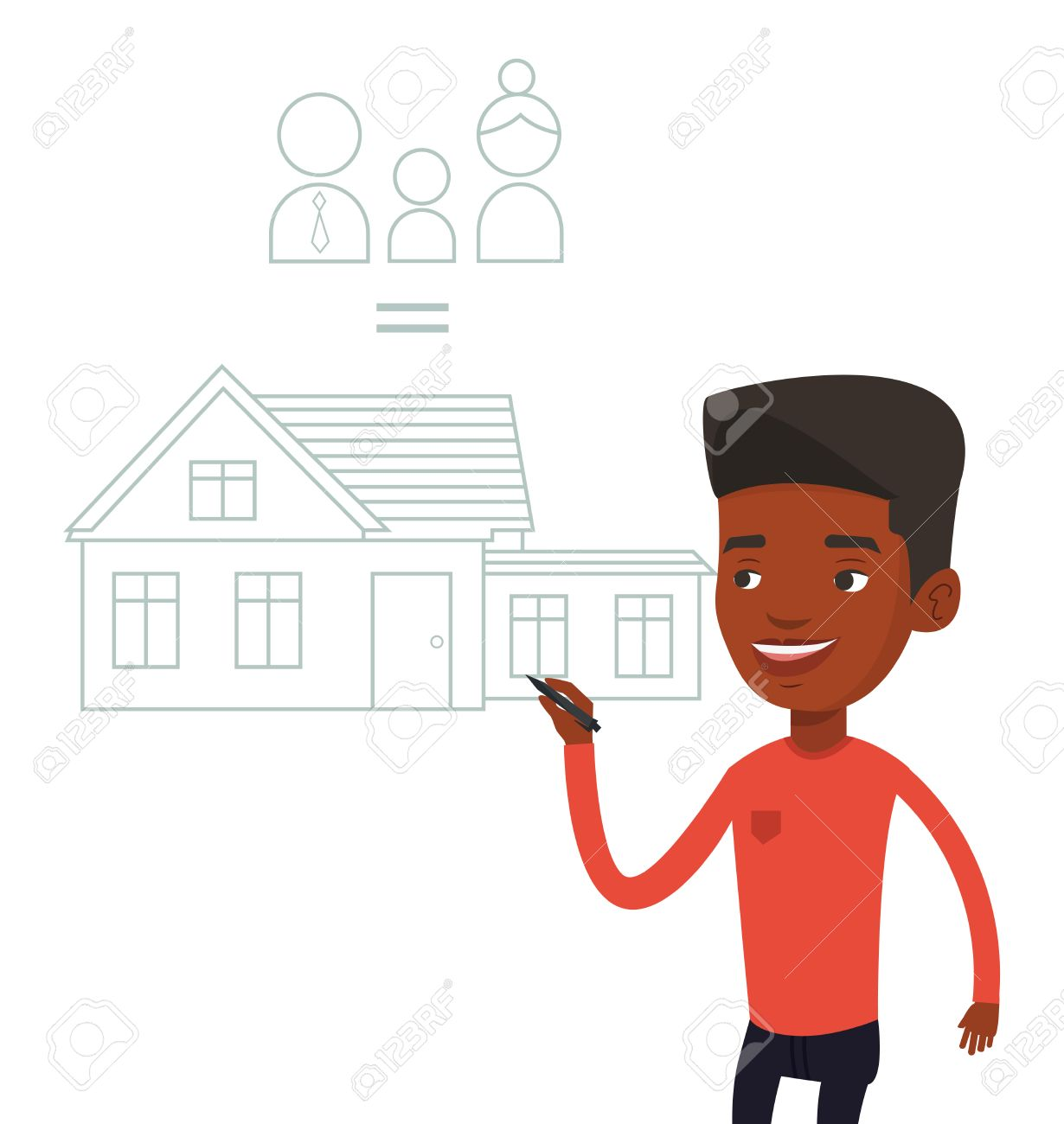 Young African American Man Drawing Family House