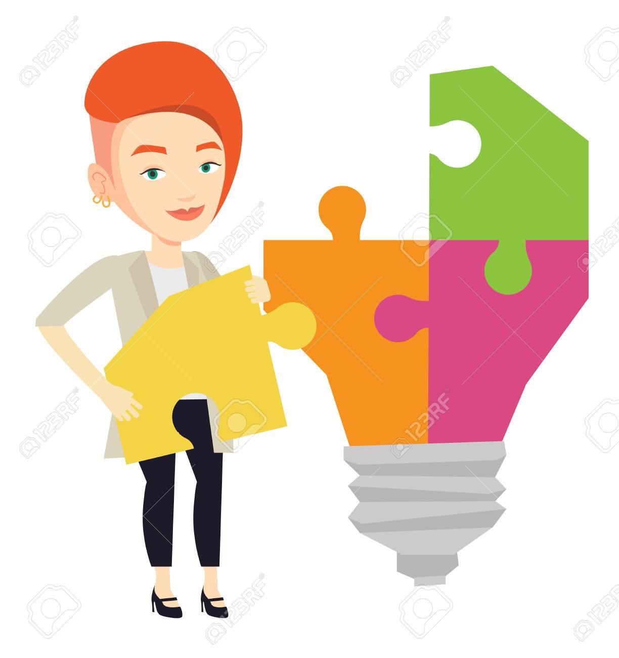 Idee Plat Etudiant.Heureux Etudiant Debout Pres De L Ampoule Idee Etudiante Demonte Idee Ampoule Faite De Puzzle Etudiant Souriant Ayant Une Bonne Idee Illustration