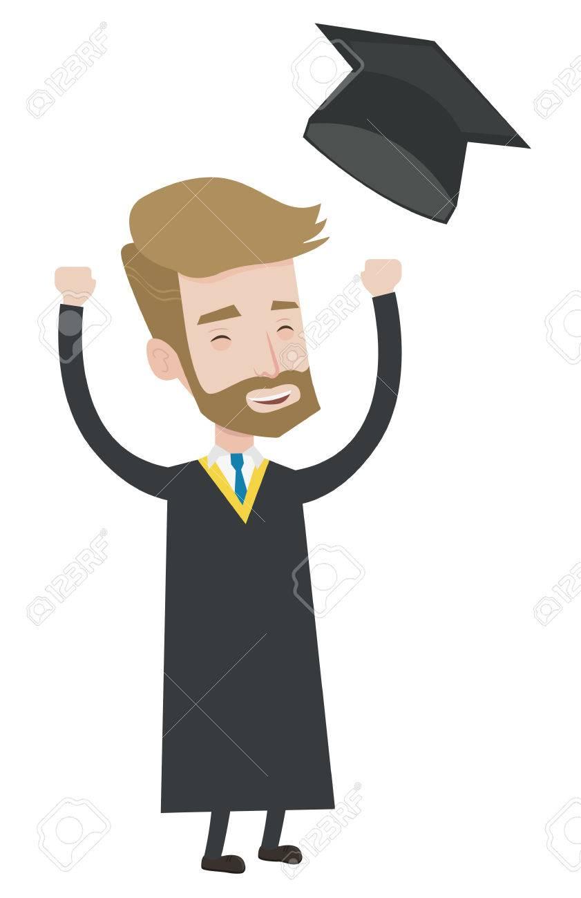 Aufgeregt Diplom In Mantel Und Abschluss Hut Hipster Absolvent Warf