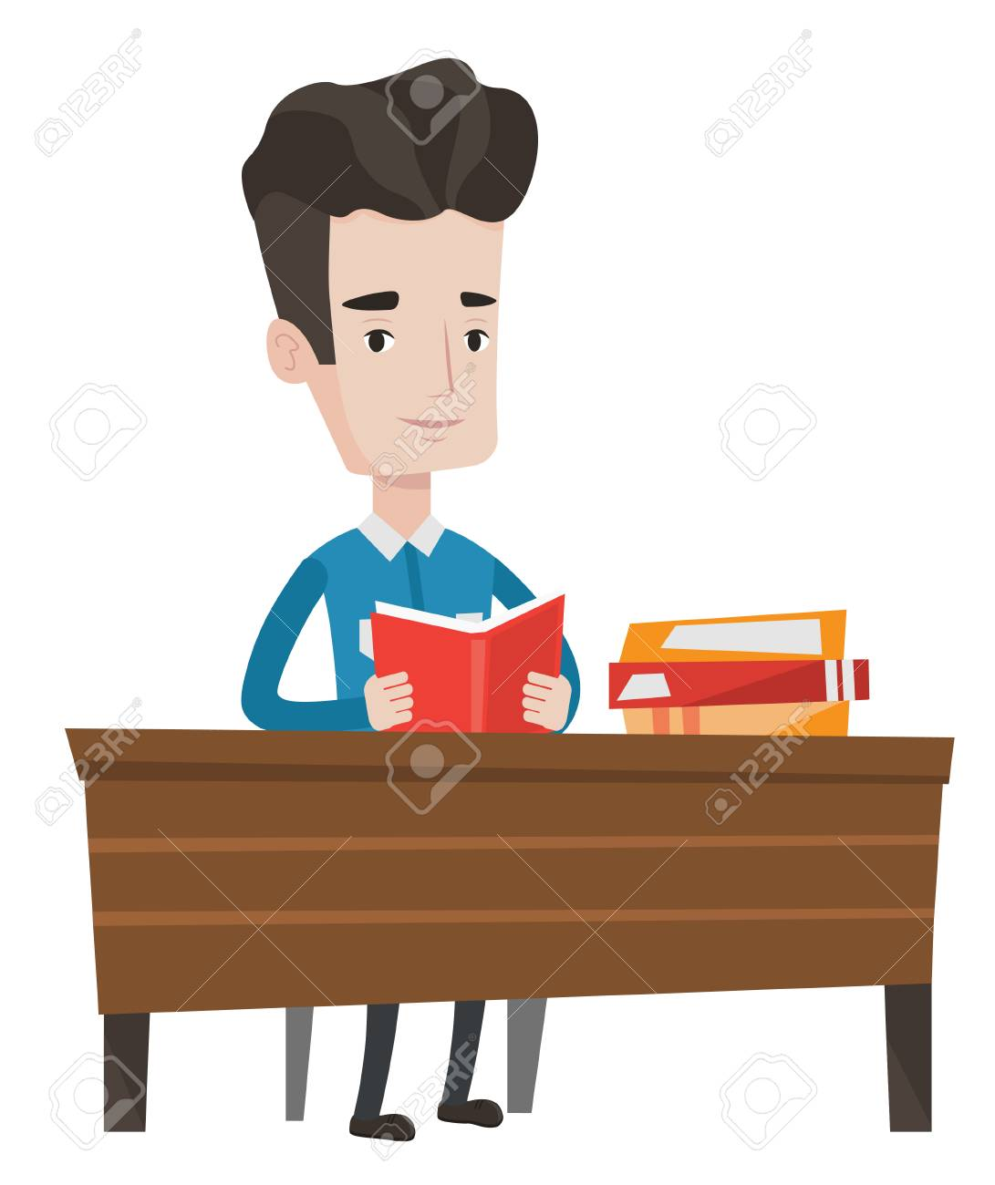 Student Sitting At The Table And Holding A Book In Hands. Student Reading A  Book