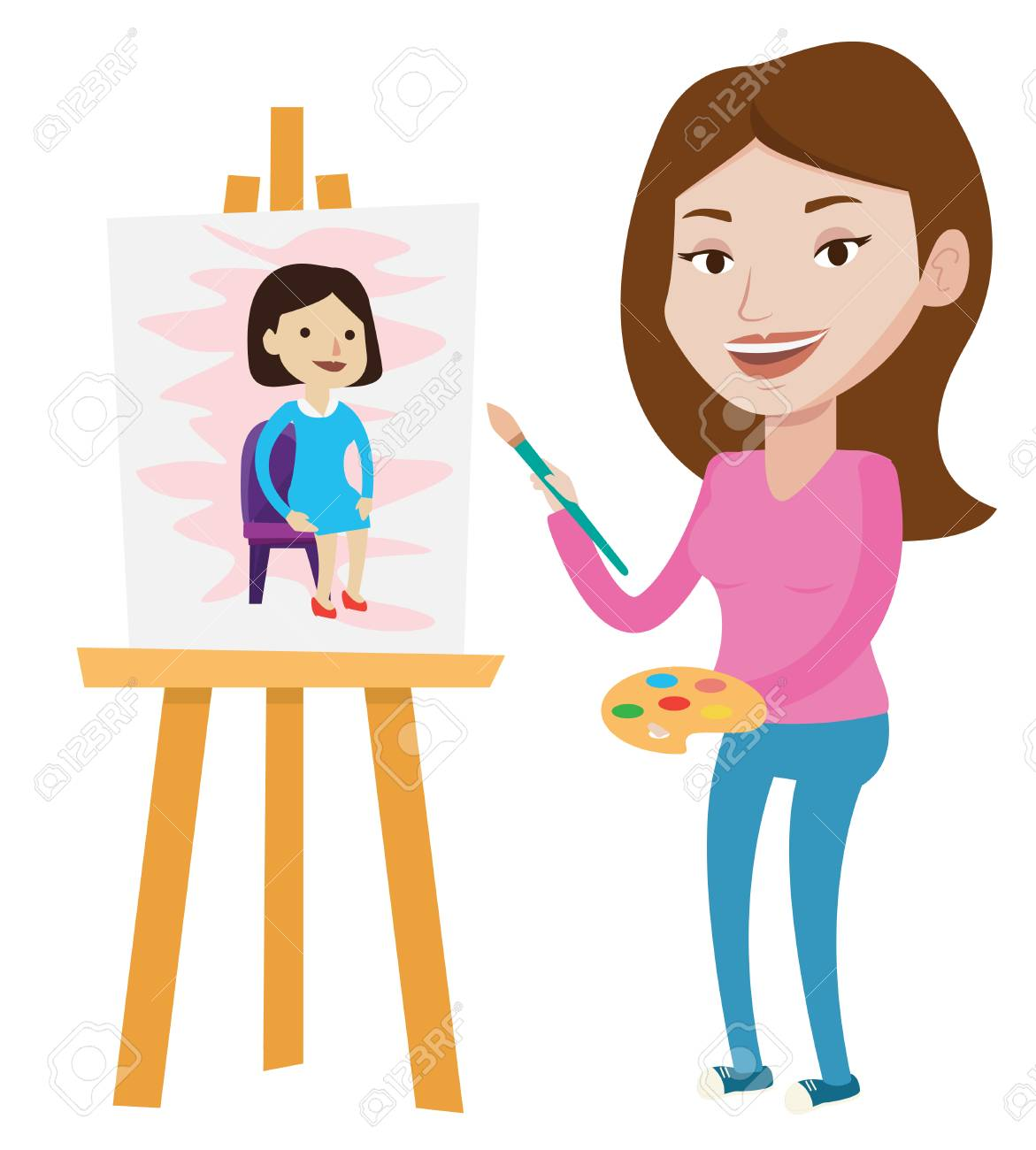Young Caucasian Artist Painting A Female Model On Canvas Creative