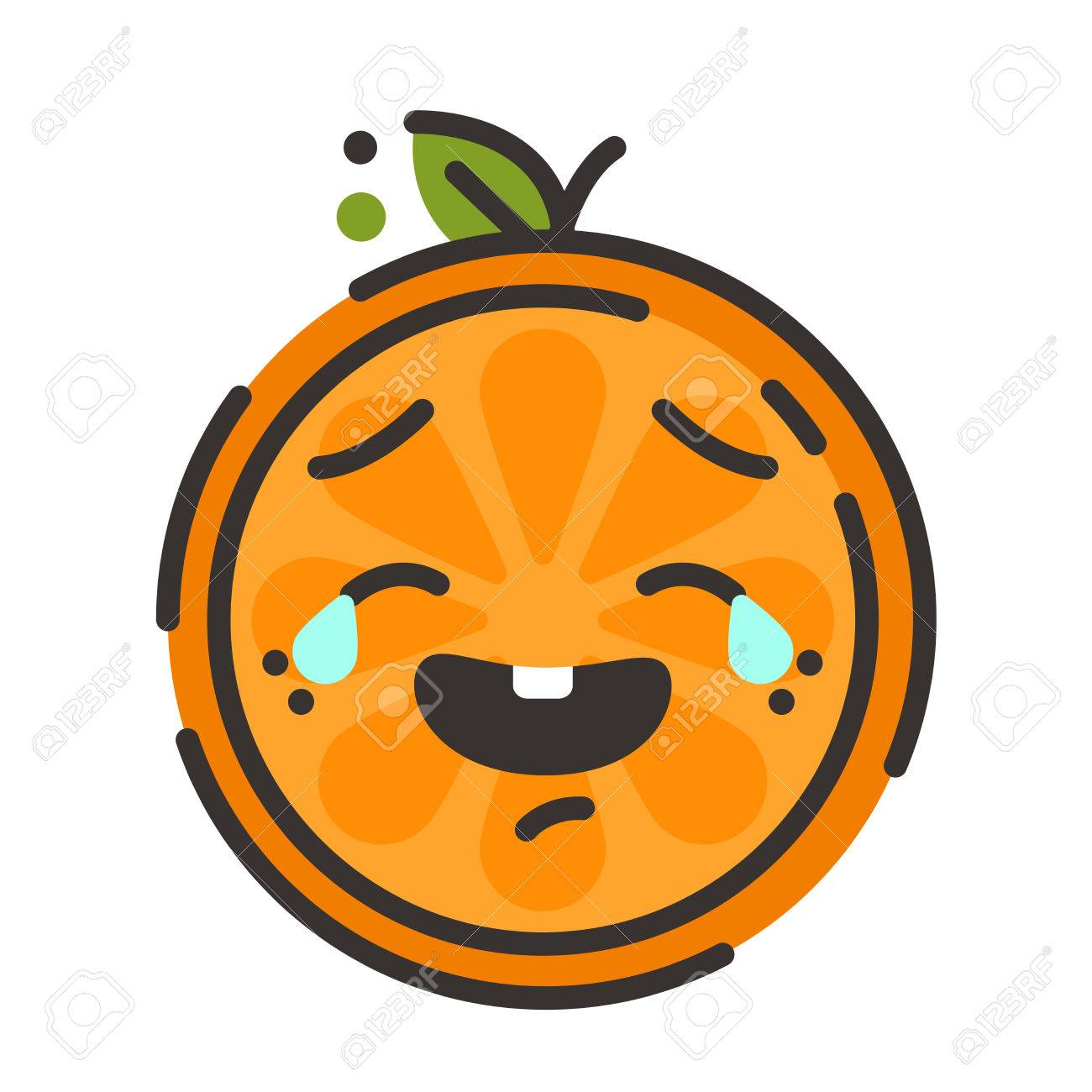 Laugh With Tears Emoji Laughing Orange Fruit Vector Flat Design Emoticon