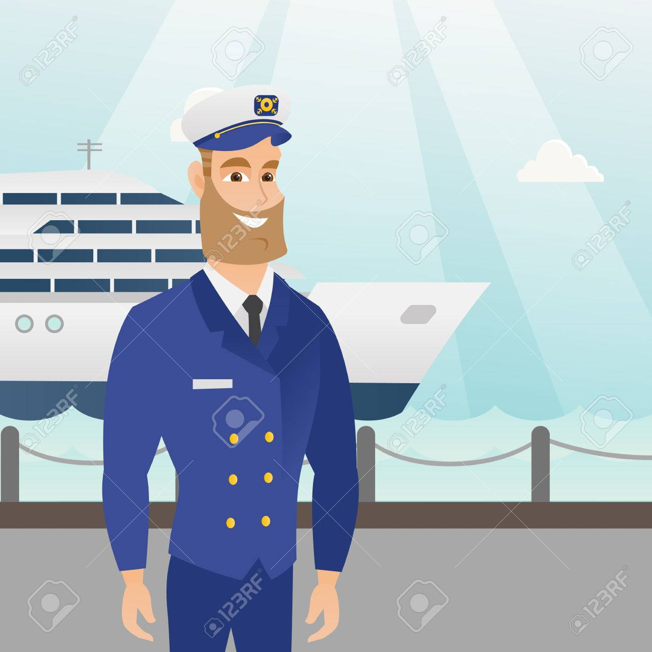Caucasian Ship Captain Standing On The Background Of Sea And - How to be a cruise ship captain