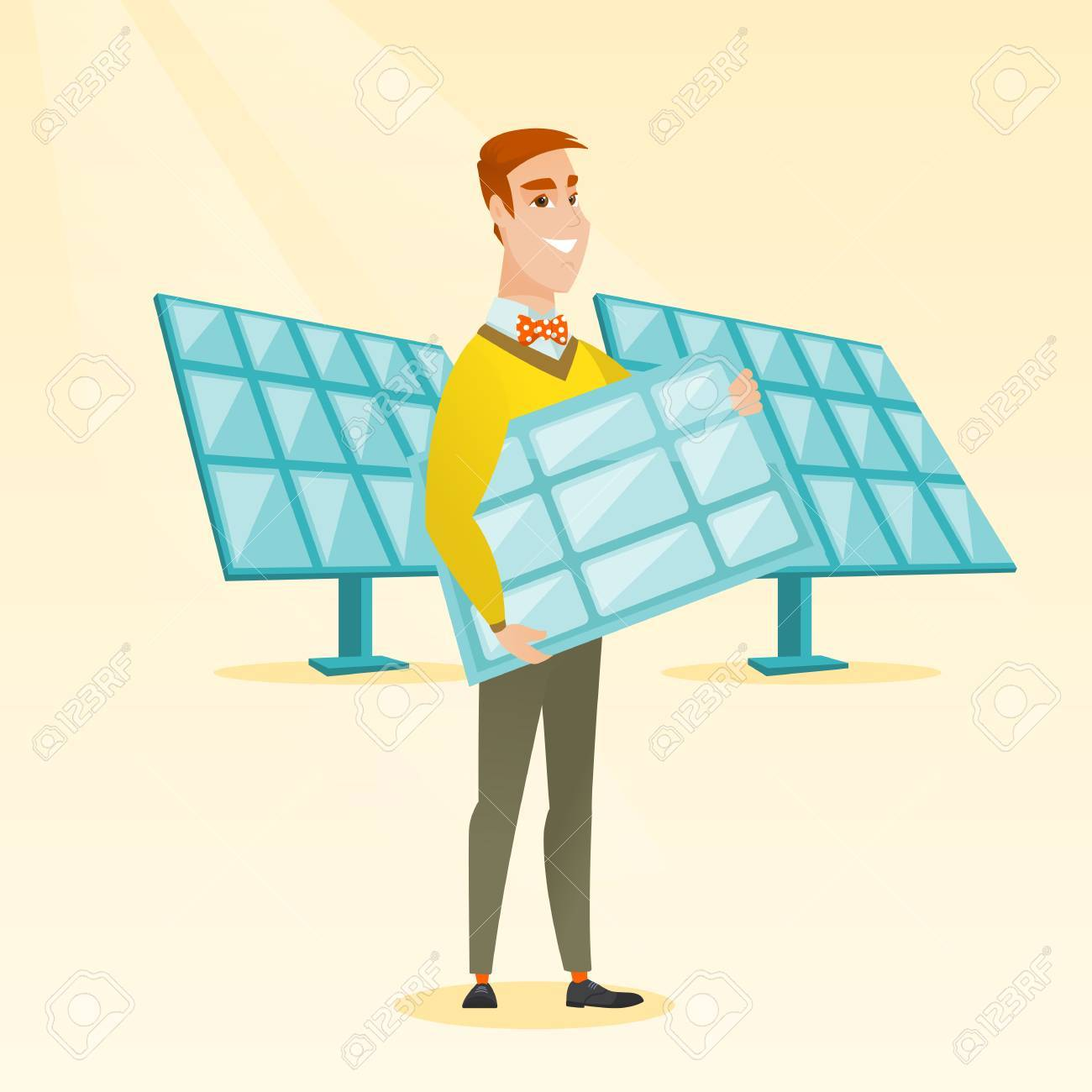 caucasian worker of solar power plant holding solar panel incaucasian worker of solar power plant holding solar panel in hands young man with panel