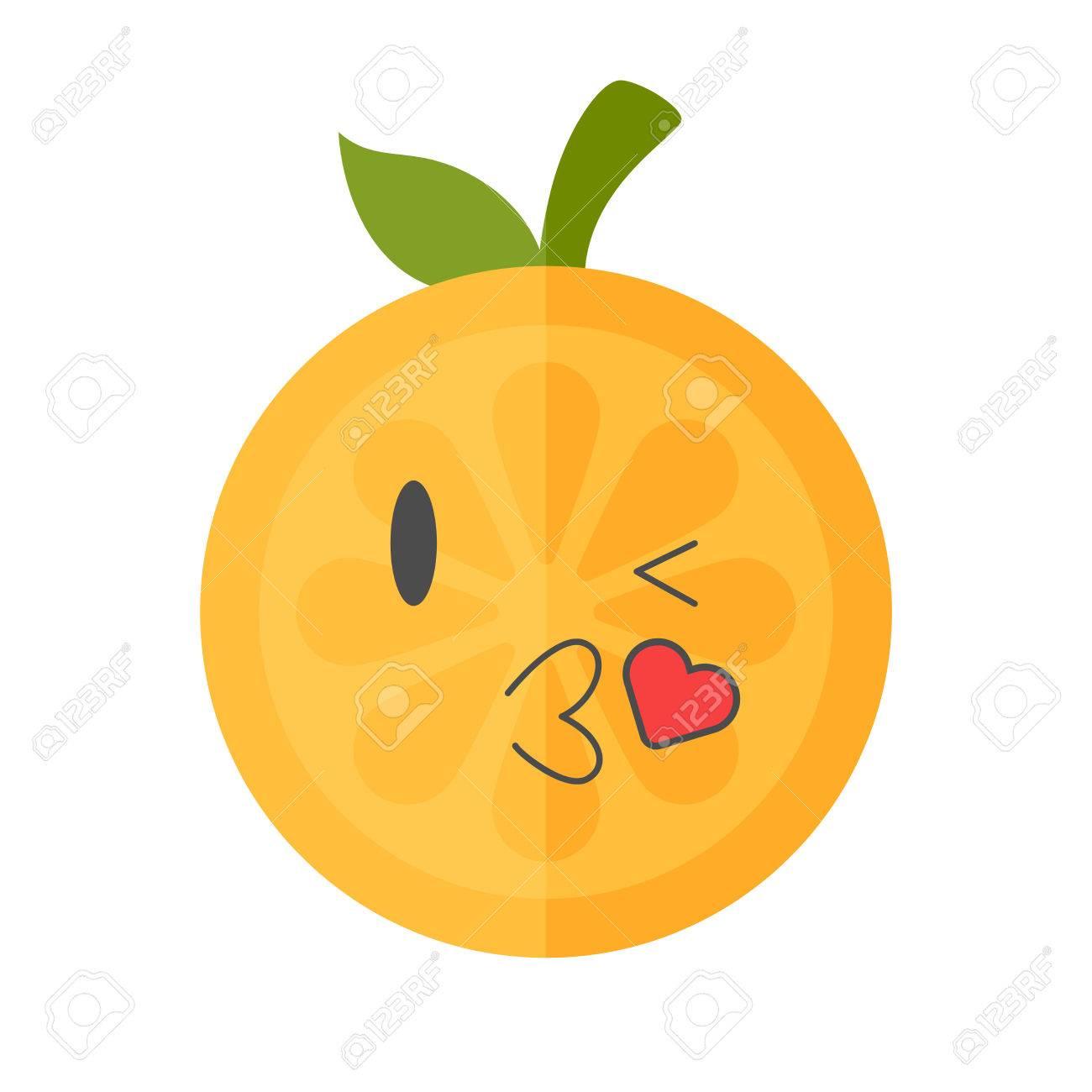 kiss emoji kissing orange fruit emoji with heart vector flat