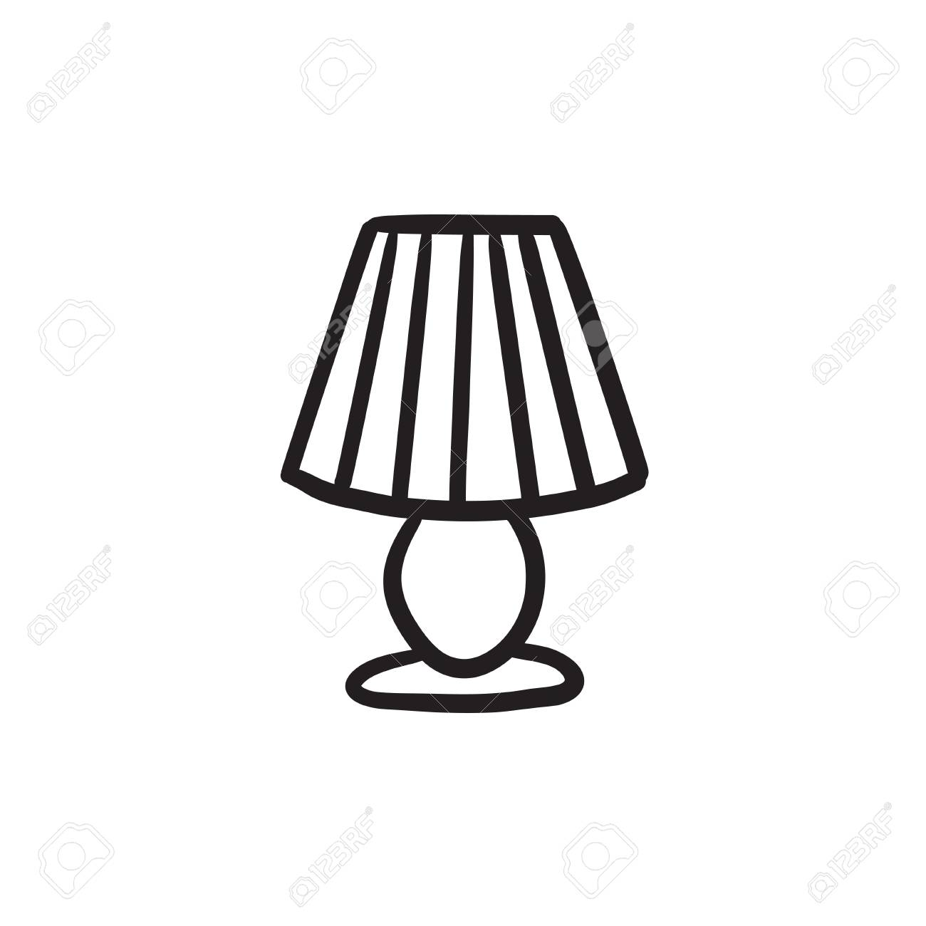 Table Lamp Vector Sketch Icon Isolated On Background Hand Drawn