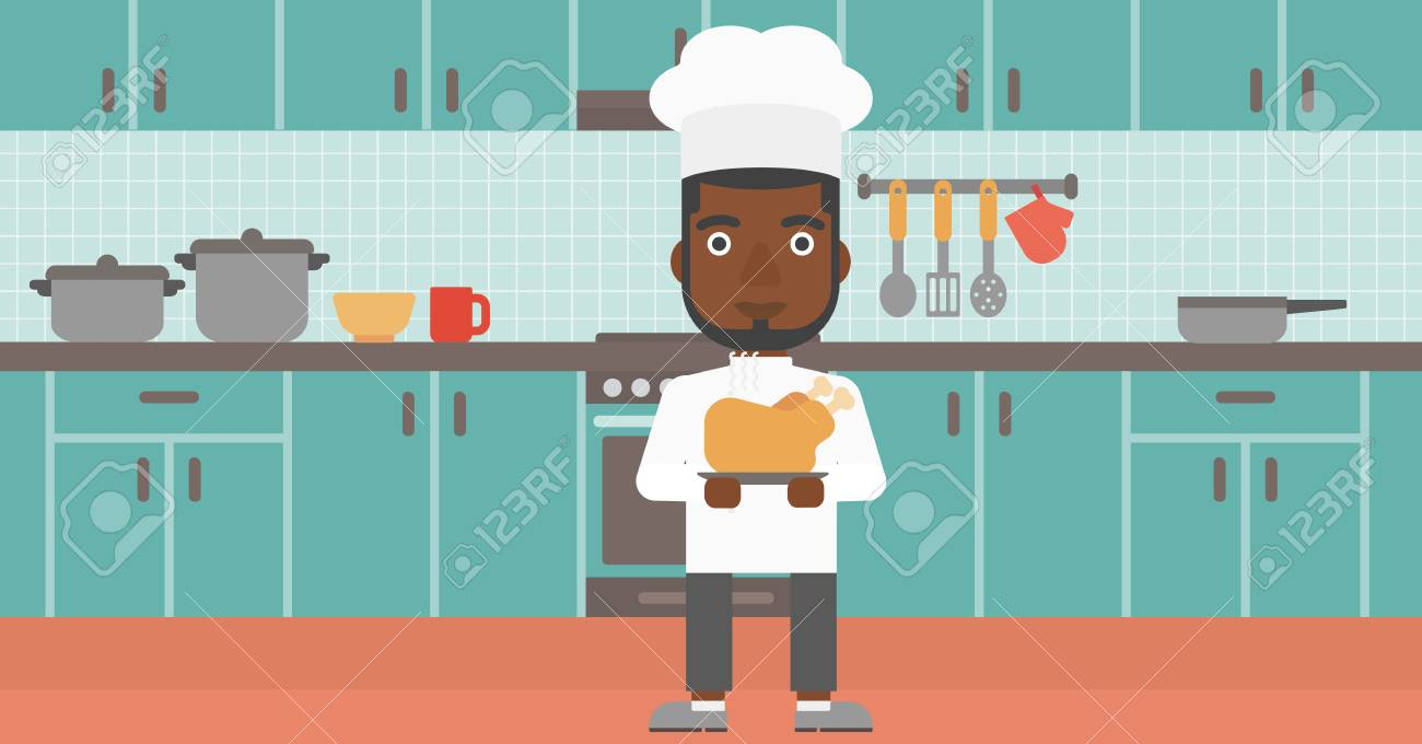 An African-american Chef Holding A Plate With A Hot Chicken On ...