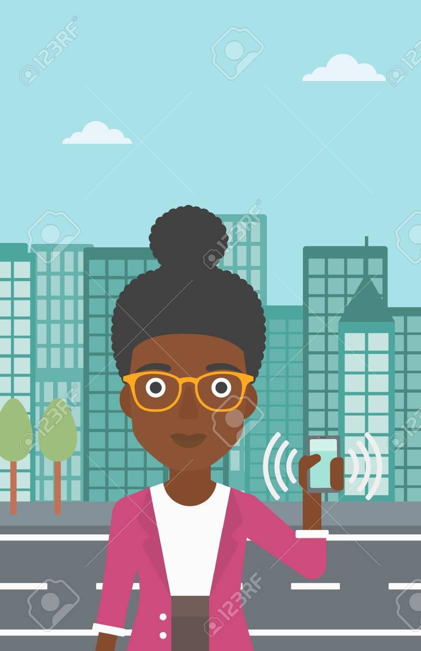 Vettoriale Una Donna Afro Americana Che Tiene Telefono Cellulare