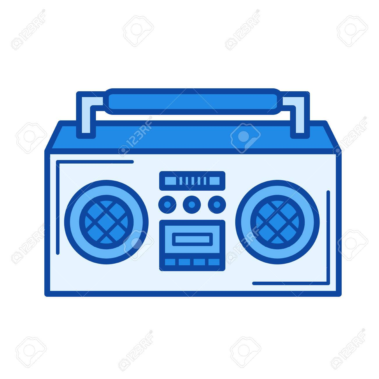 vintage boombox vector line icon isolated on white background rh 123rf com boombox vector art boombox vector image