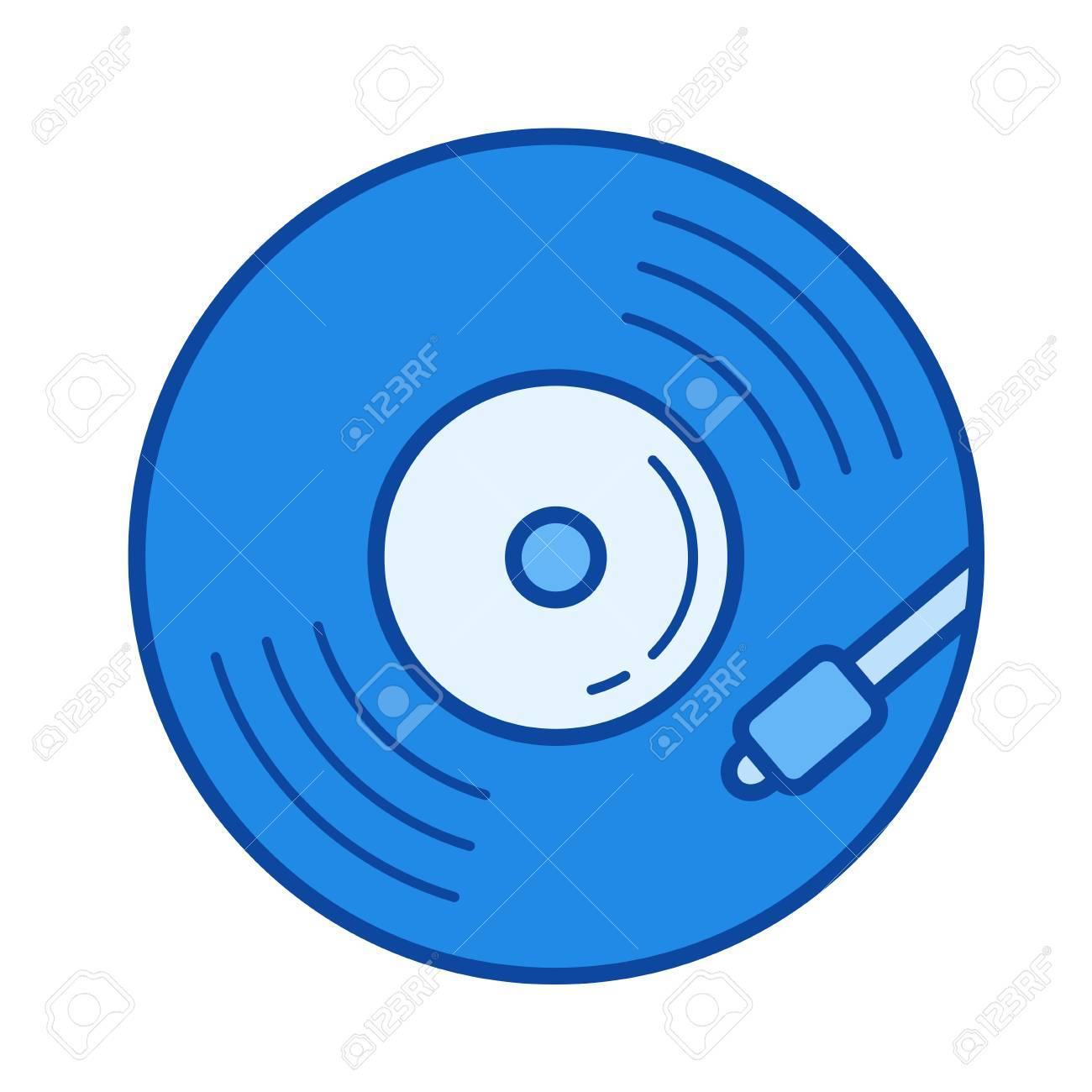 vinyl turntable vector line icon isolated on white background rh 123rf com vinyl vector download vinyl vector art