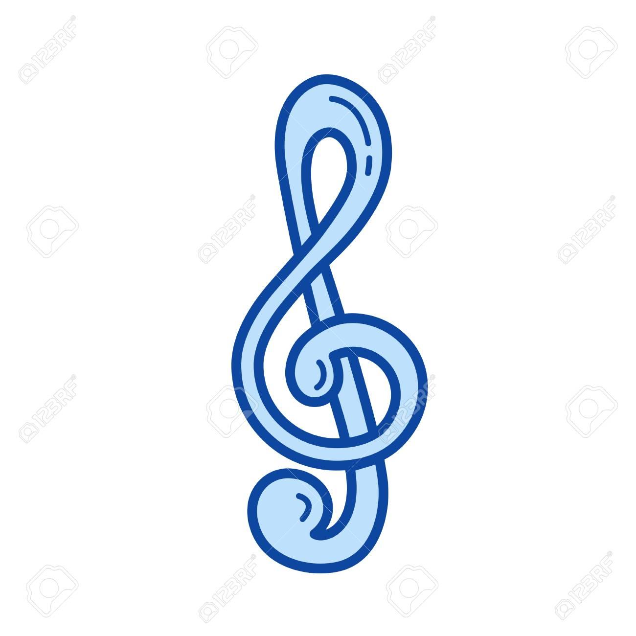 Vettoriale Icona Di Linea Di Vettore Chiave Di Violino Isolato Su