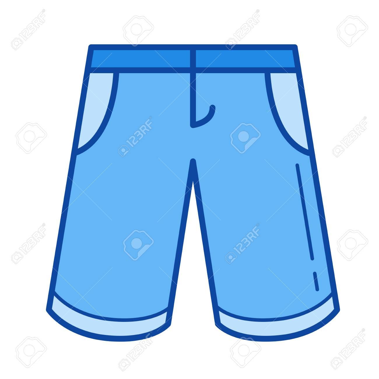 Bermuda shorts vector lijn pictogram geïsoleerd op een witte achtergrond. Bermuda korte broek lijn pictogram voor infographic, website of app. Blauw