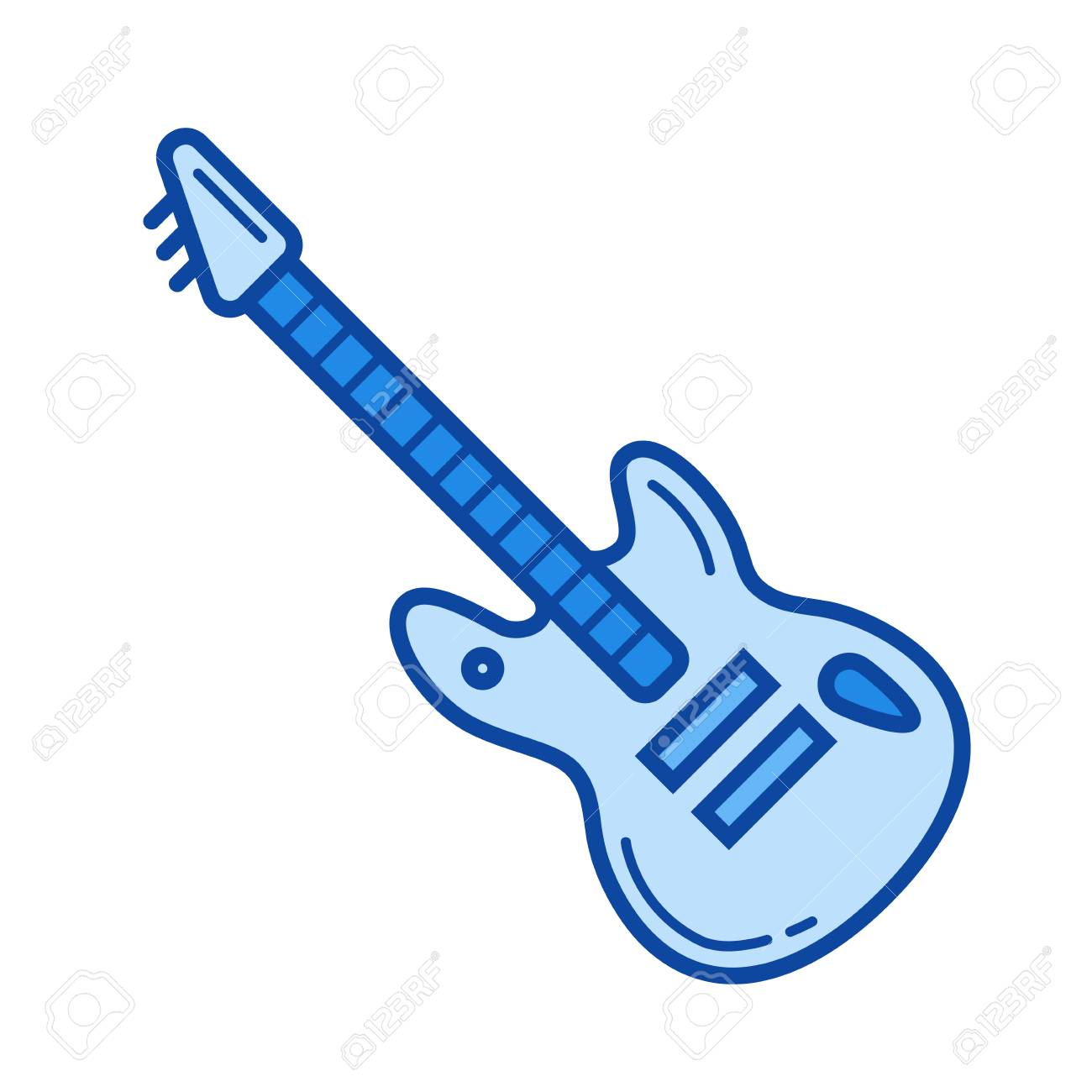 Rock Guitar Vector Line Icon Isolated On White Background For Infographic