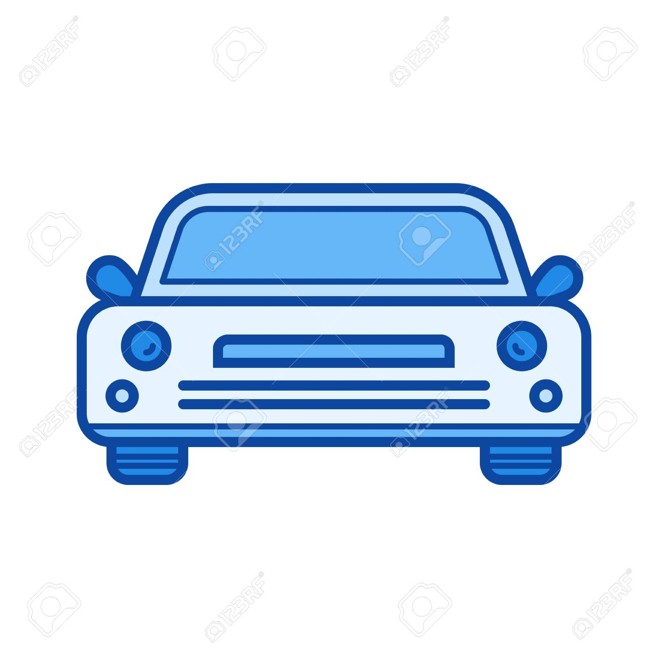 Sedan Car Vector Line Icon Isolated On White Background Sedan