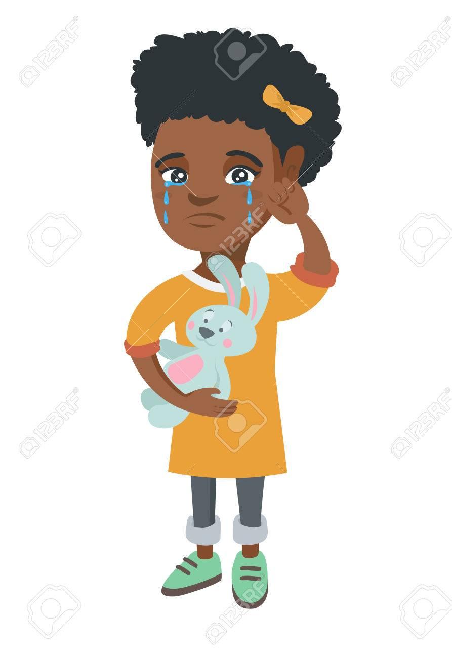 アフリカ系アメリカ人女の子泣いていると 涙を拭きます 女の子泣いているとグッズ ウサギを手に保持しています ベクター スケッチ漫画イラスト 白背景に分離します のイラスト素材 ベクタ Image