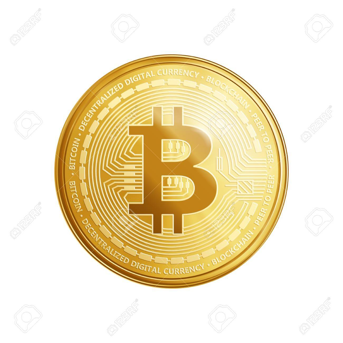 Golden Bitcoin Coin Crypto Currency Symbol Isolated On White Background Realistic