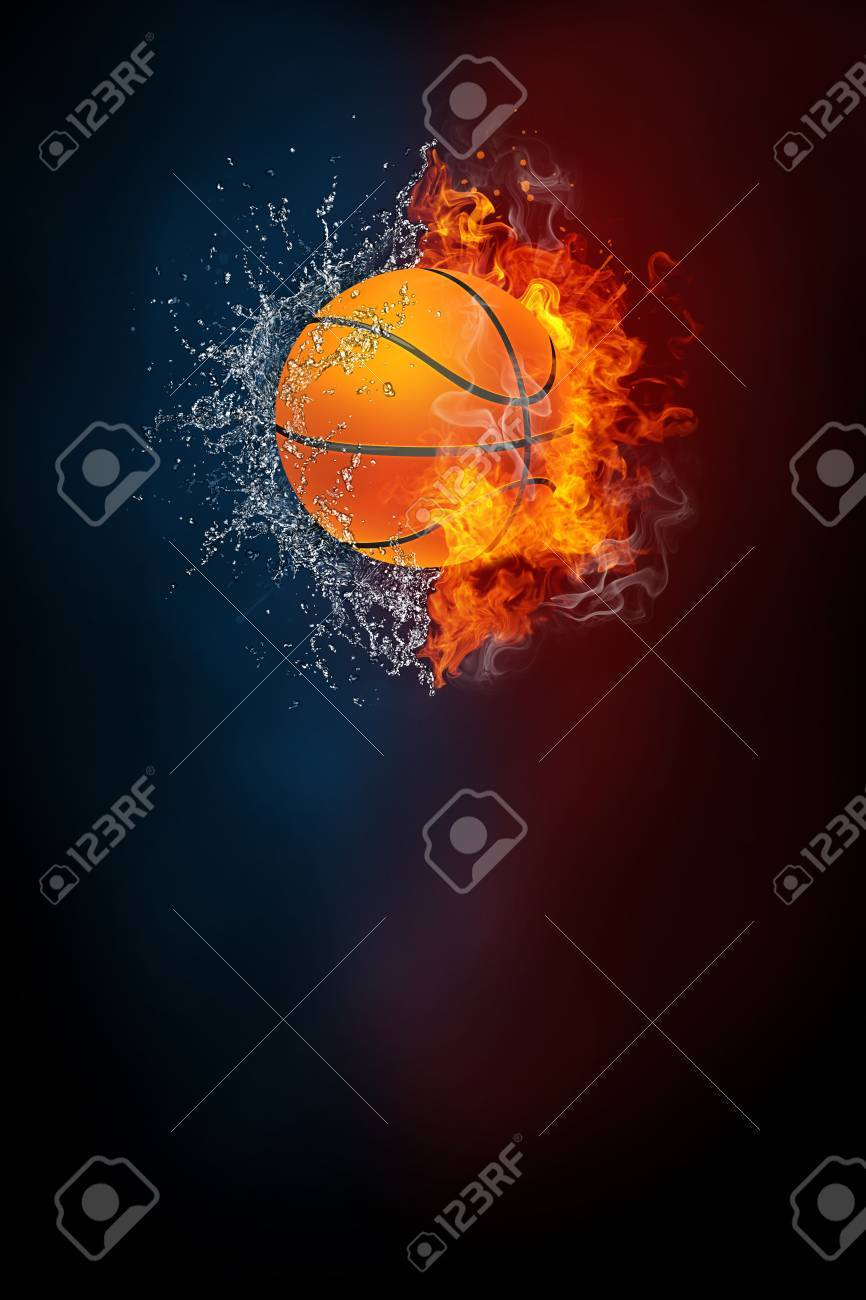 Basketball sports tournament modern poster template. High resolution HR poster size 24x36 inches, 31x91 cm, 300 dpi, vertical design, copy space. Basketball ball exploding by elements fire and water. - 87802259