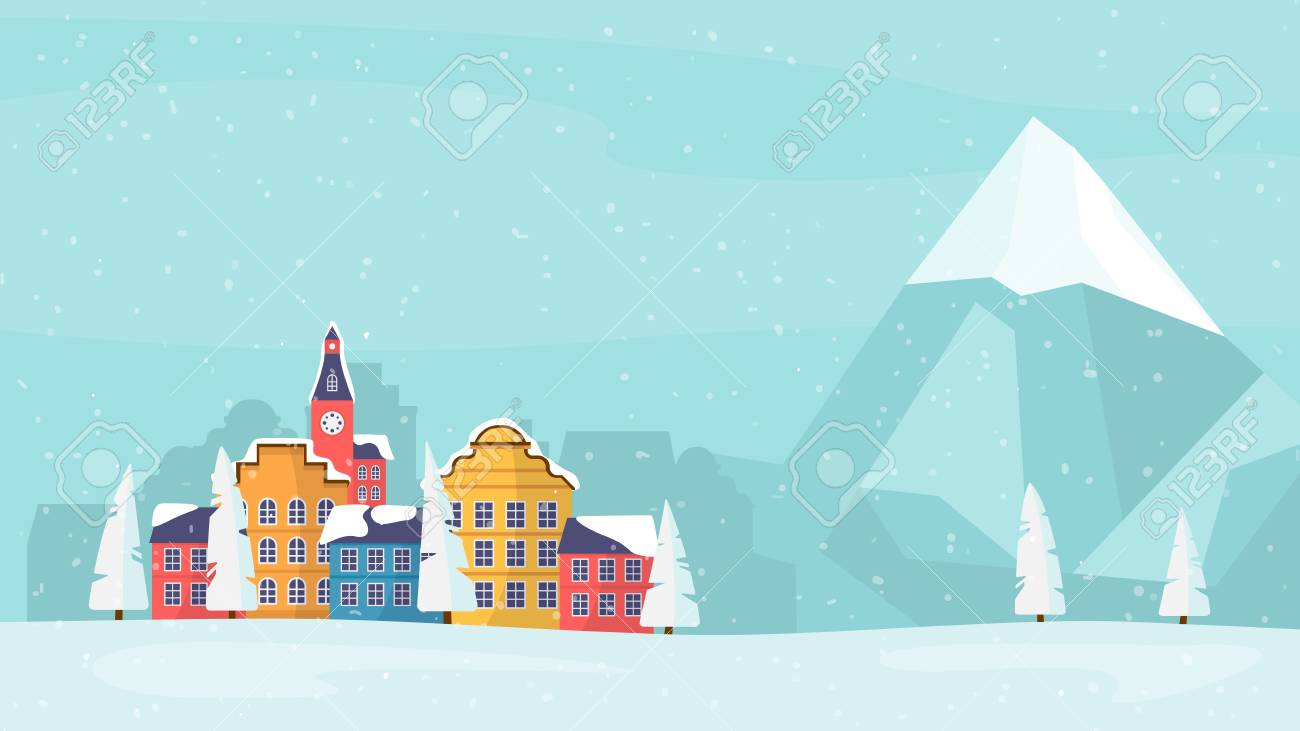 christmas and new year inspired winter holiday card with small town next to mountain landscape and