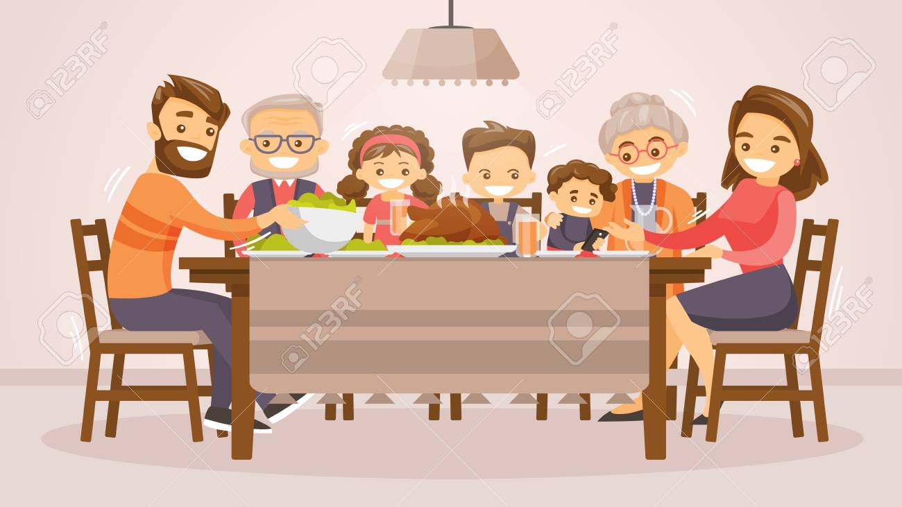 Christmas and Thanksgiving inspired winter Holiday card with caucasian family celebrating Thanksgiving at the table. Vector flat design family Holiday weekend illustration for poster, card, banner. - 88314138