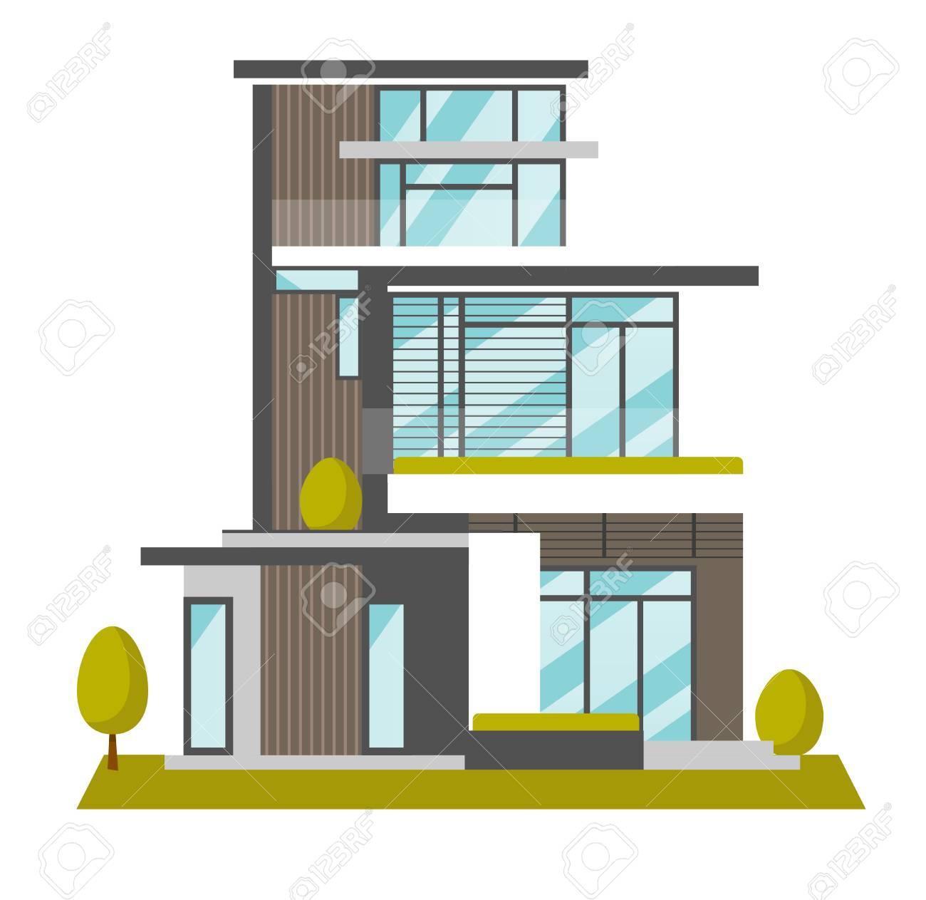 Gran Casa Moderna Con Muchas Ventanas Ilustración Vectorial De