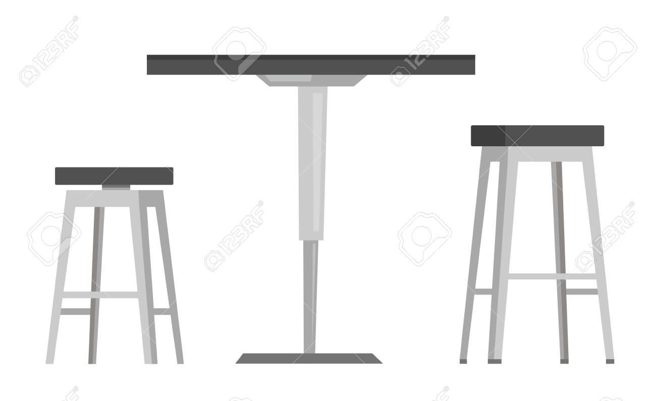 Bar Blanc Ronde Avec De Vector Illustration Isolé Fond Animé Moderne Dessin Sur Deux Table Chaises rWQxdeBECo