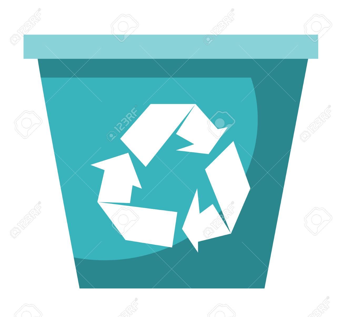 空の青いプラスチックのリサイクル ビン ベクトル漫画イラスト白い背景で