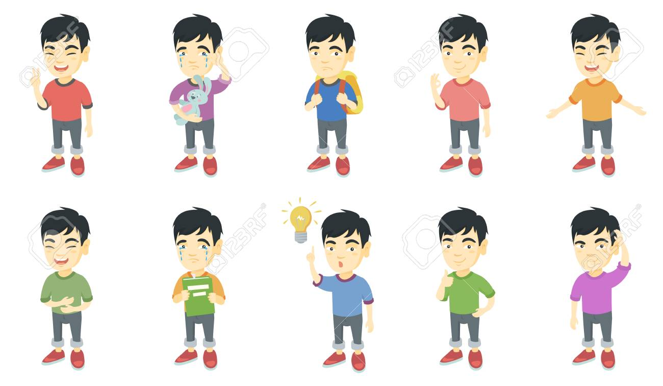 Little asian boy set boy showing victory gesture ok sign crying pointing