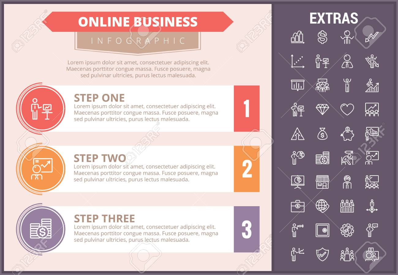 online business infographic timeline template elements and icons