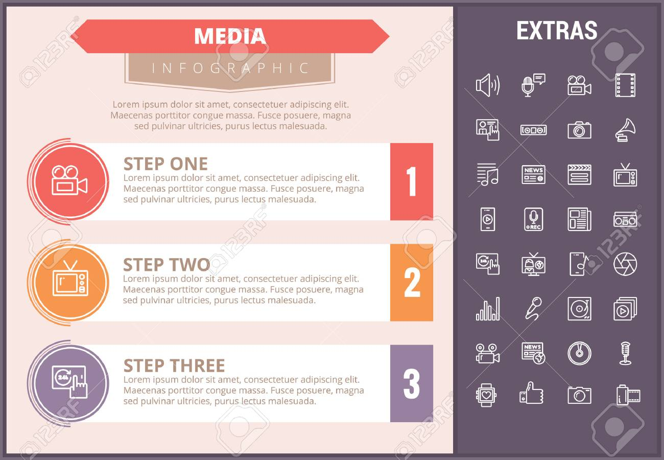 Media Infographic Timeline Template, Elements And Icons. Infograph ...