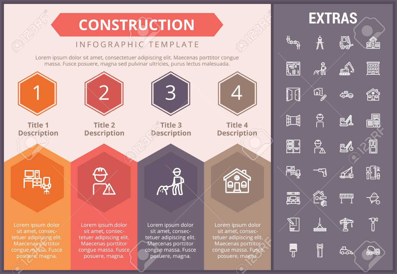 Construction Infographic Timeline Template Elements And Icons - Construction timeline template