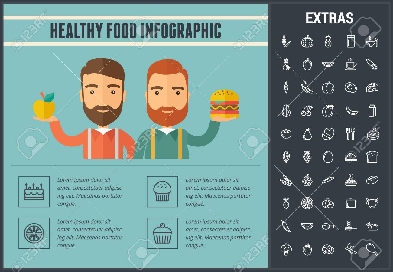 Healthy Food Infographic Template Elements And Icons Infograph
