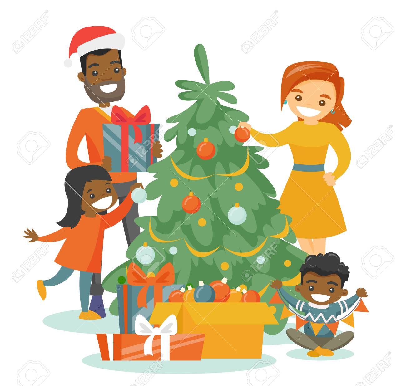 Mother Christmas Cartoon.Young Happy Multiethnic Family Decorating The Christmas Tree