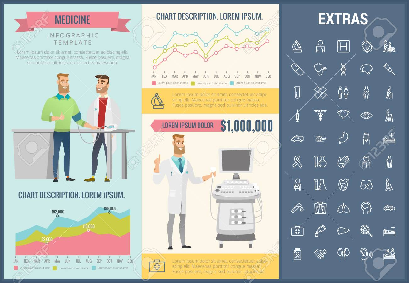 Medicine Infographic Template Elements And Icons Infograph Nurse Kit Standart Includes Customizable Graphs Charts Line